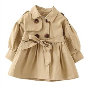 RESTOCKED!!!  Toddler button trench coat (tan)